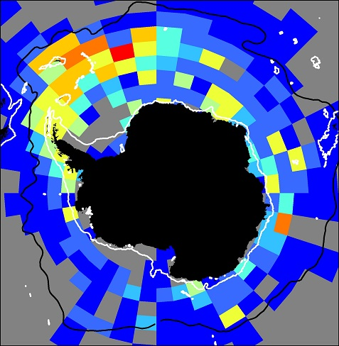 Circumpolar distribution map of krill derived from KRILLBASE dataset